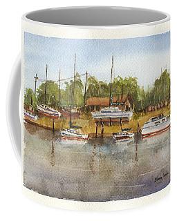 Coffee Mug featuring the painting Coastal Boatyard by Barry Jones