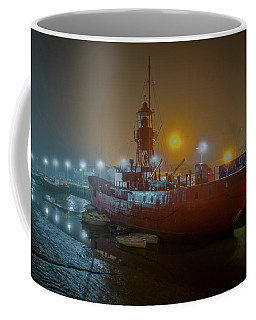 Coffee Mug featuring the photograph Colne Lightship In The Fog by Gary Eason