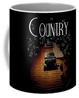 Coffee Mug featuring the digital art Color Country Music Guitar Notes by Guitar Wacky