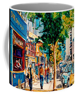Colorful Cafe Painting Irish Pubs Bistros Bars Diners Delis Downtown C Spandau Montreal Eats         Coffee Mug
