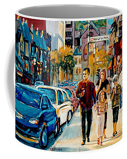 Colorful Downtown City Scene Painting Family Stroll Summer Streets C Spandau Urban Canadian Artist Coffee Mug