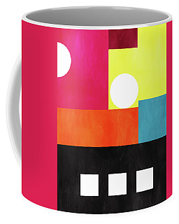 Coffee Mug featuring the mixed media Colorful Geometric Abstract 1- Art By Linda Woods by Linda Woods