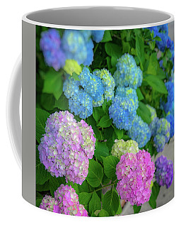Coffee Mug featuring the photograph Colorful Hydrangeas by Lora J Wilson