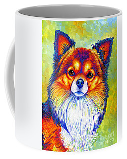 Colorful Long Haired Chihuahua Dog Coffee Mug