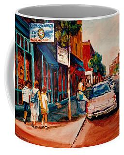 Colorful Montreal Streets  C Spandau Canadian Cityscene Artist Mile End Plateau Quebec Fine Art  Coffee Mug