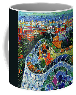 Colorful Mosaic Park Guell Barcelona Impasto Palette Knife Stylized Cityscape Coffee Mug