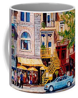Colorful Paris Style Outdoor Cafes Rue St Denis Canadian Art Montreal Eats C Spandau Quebec Artist Coffee Mug
