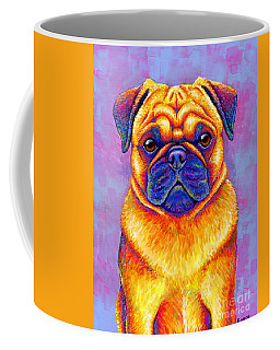 Colorful Rainbow Pug Dog Portrait Coffee Mug