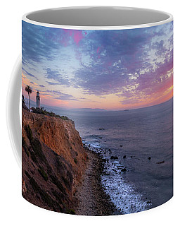 Coffee Mug featuring the photograph Colorful Sky After Sunset At Point Vicente Lighthouse by Andy Konieczny