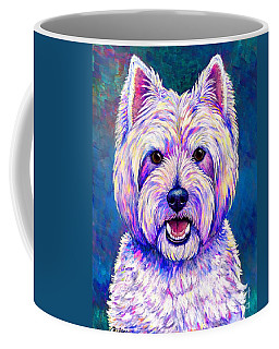 Colorful West Highland White Terrier Blue Background Coffee Mug