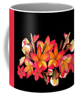Coffee Mug featuring the drawing Coloured Frangipani Black Bkgd by Joan Stratton