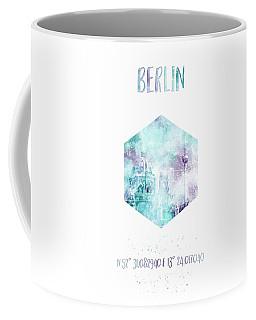 Coordinates Berlin Cathedral And Television Tower - Jazzy Watercolor Coffee Mug