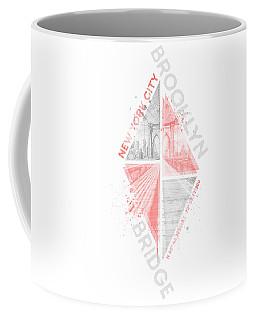 Coordinates New York City Brooklyn Bridge - Living Coral Coffee Mug