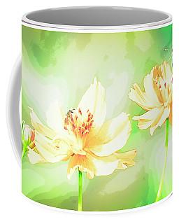 Cosmos Flowers, Bud, Butterfly, Digital Painting Coffee Mug