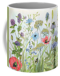 Cottage Flowers And Bees Coffee Mug