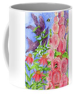 Cottage Garden Hollyhock Bees Blue Skie Coffee Mug