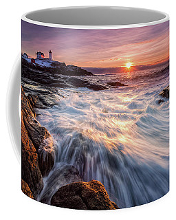 Crashing Waves At Sunrise, Nubble Light.  Coffee Mug