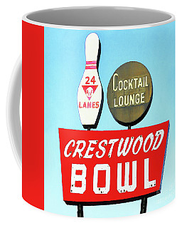 Coffee Mug featuring the photograph Crestwood Bowl Bowling Alley 20190105 Square by Wingsdomain Art and Photography