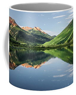 Coffee Mug featuring the photograph Crystal Lake Red Mountain Reflection by Robert Bellomy