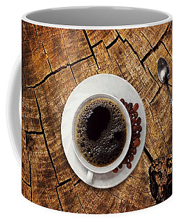 Cup Of Coffe On Wood Coffee Mug