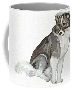 Coffee Mug featuring the painting Cute Fluffy Dog by Dobrotsvet Art