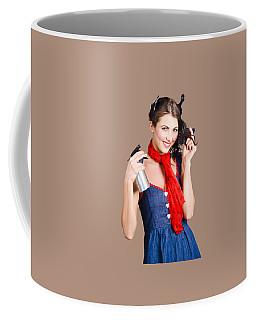 Cute Girl Model Styling A Hairdo. Pinup Your Hair Coffee Mug