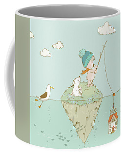 Coffee Mug featuring the painting Cute Little Bear Goes Fishing by Matthias Hauser