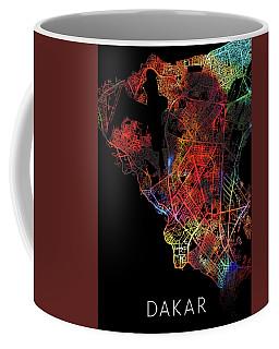 Dakar Senegal Watercolor City Street Map Dark Mode Coffee Mug