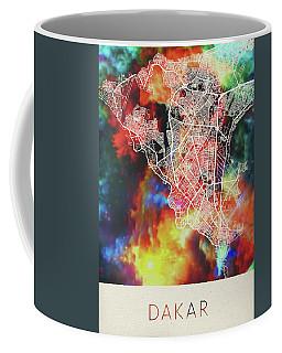 Dakar Senegal Watercolor City Street Map Coffee Mug