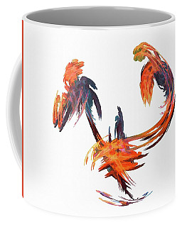 Coffee Mug featuring the digital art Dance Of The Birds Orange by Don Northup