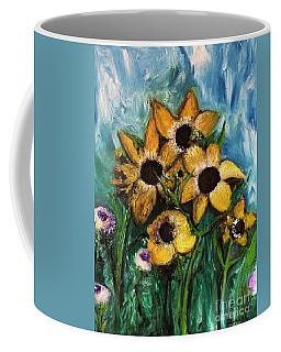 Coffee Mug featuring the painting Dancing Flowers by Laurie Lundquist