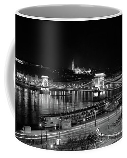 Coffee Mug featuring the photograph Danube River At Night by Mark Duehmig