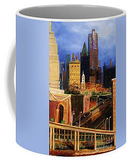 Coffee Mug featuring the painting Dawn At City Hall by Donna Hall