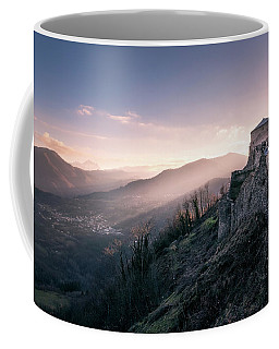 Dawning Fortress - The Famous Fortress Of Verrcuole In Tuscany At Dawn Coffee Mug