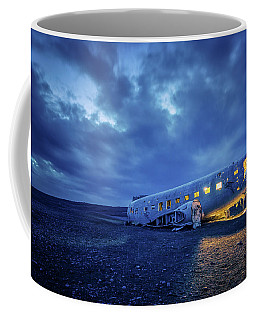 Coffee Mug featuring the photograph Dc-3 Plane Wreck Illuminated Night Iceland by Nathan Bush