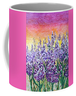 Coffee Mug featuring the painting Delphiniums by Norma Duch