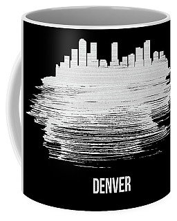 Denver Skyline Brush Stroke White Coffee Mug