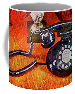 Coffee Mug featuring the painting Dial Up Telephone by Joan Reese