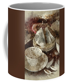 Digital Watercolor Painting Of 18th Century Cups And Saucers Cro Coffee Mug