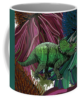 Coffee Mug featuring the drawing Dinosaur Triceratops Flowers by Joan Stratton