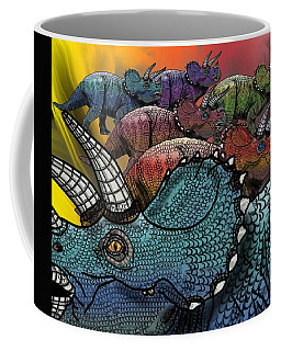 Coffee Mug featuring the drawing Dinosaur Triceratops Herd by Joan Stratton