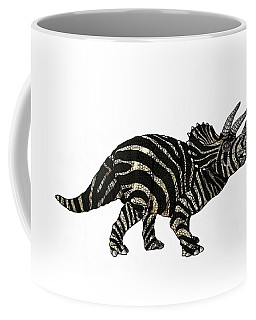 Coffee Mug featuring the drawing Dinosaur Zebra Triceratops by Joan Stratton