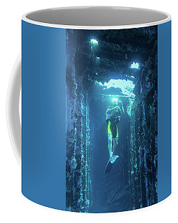 Diver In The Patris Shipwreck Coffee Mug
