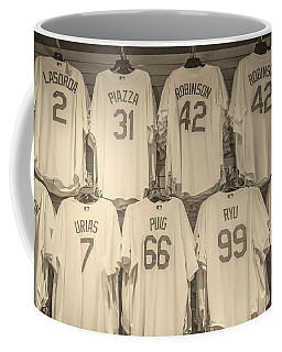Coffee Mug featuring the photograph Dodgers Wall Of Famers - Retro Style by Lynn Bauer