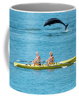 Dolphin Leaping Over Two Rowers Coffee Mug