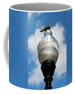 Coffee Mug featuring the photograph Dove On A Light Post by Lora J Wilson