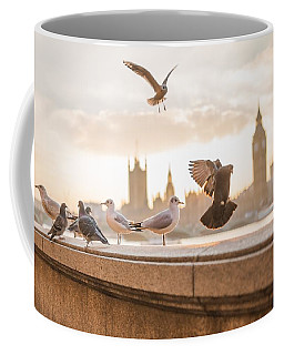 Doves And Seagulls Over The Thames In London Coffee Mug