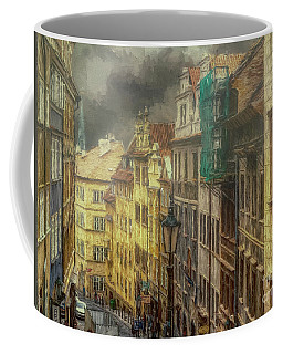 Coffee Mug featuring the photograph Downhill, Downtown, Prague by Leigh Kemp