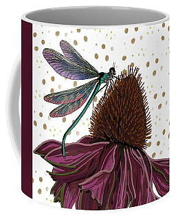 Coffee Mug featuring the drawing Dragon Fly And Echinacea Flower by Joan Stratton