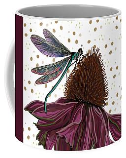 Dragon Fly And Echinacea Flower Coffee Mug